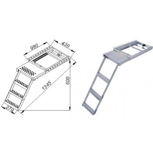 Escalera extr 3 pelda os c plataforma innovatrucks for Escaleras 3 peldanos amazon